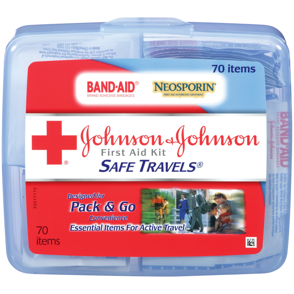 SAFE TRAVELS® First Aid Kit Johnson and Johnson RED CROSS® Brand