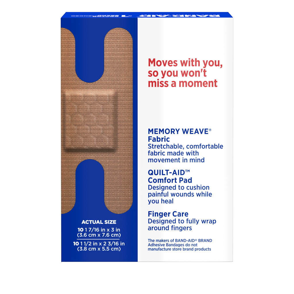 Flexible Fabric Knuckle And Finger Bandages Assorted 20 Ct Band Aid Brand Adhesive Bandages