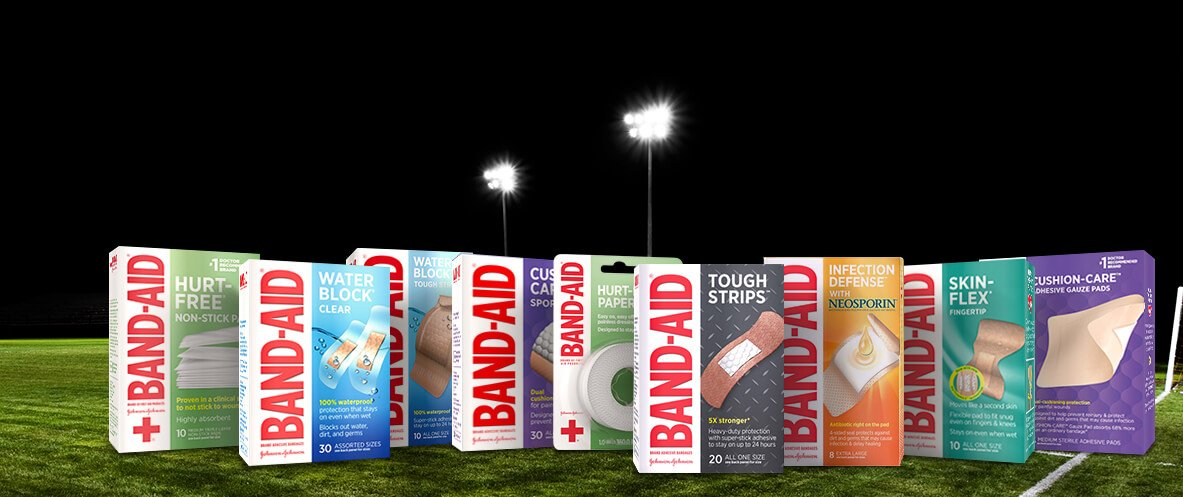 Boxes of BAND-AID® Brand adhesive bandages and tapes for advanced wound care protection
