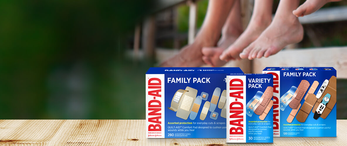Boxes of BAND-AID® Brand variety and bulk bandages