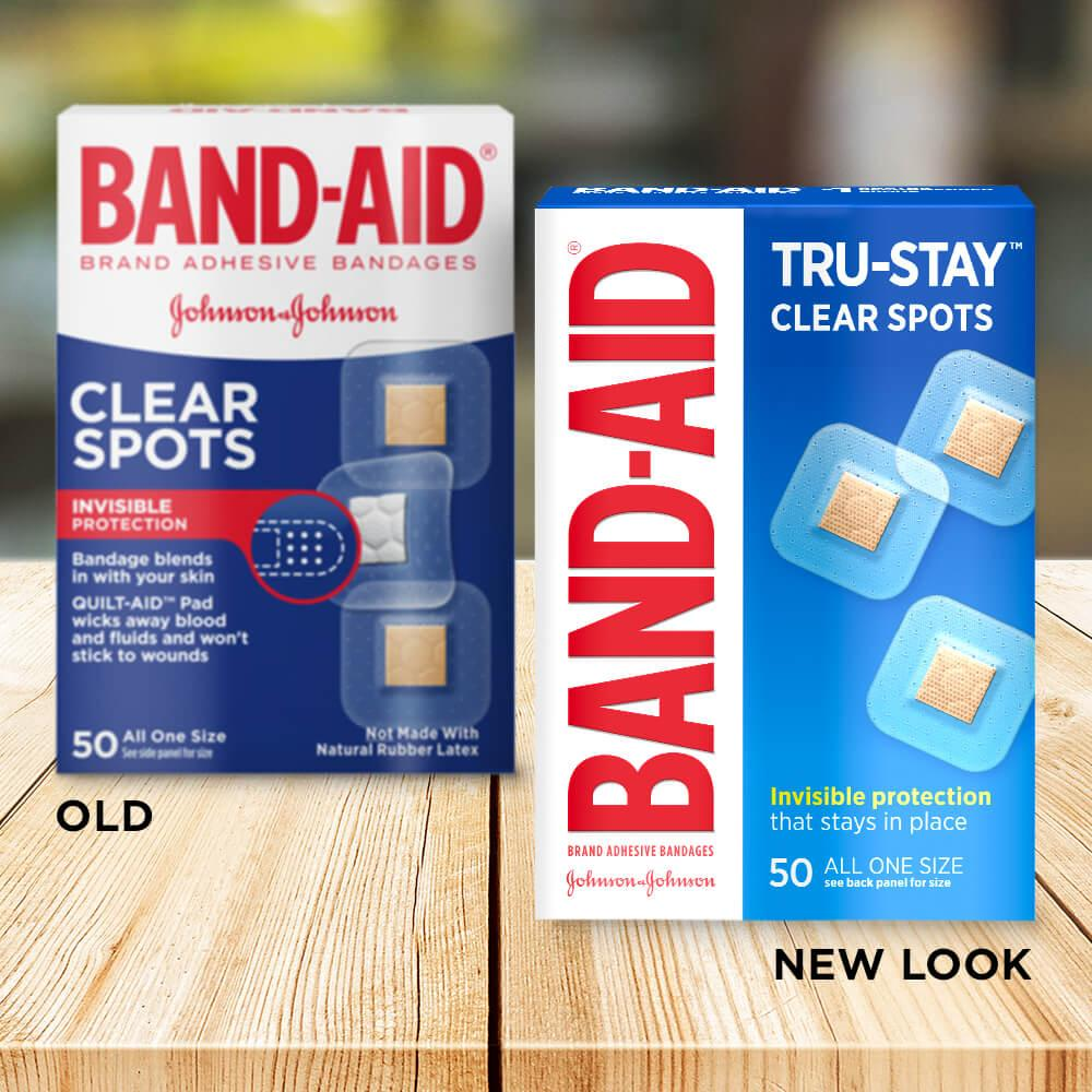 Old vs new look of BAND-AID® Brand TRU-STAY™ Clear Spot Bandages