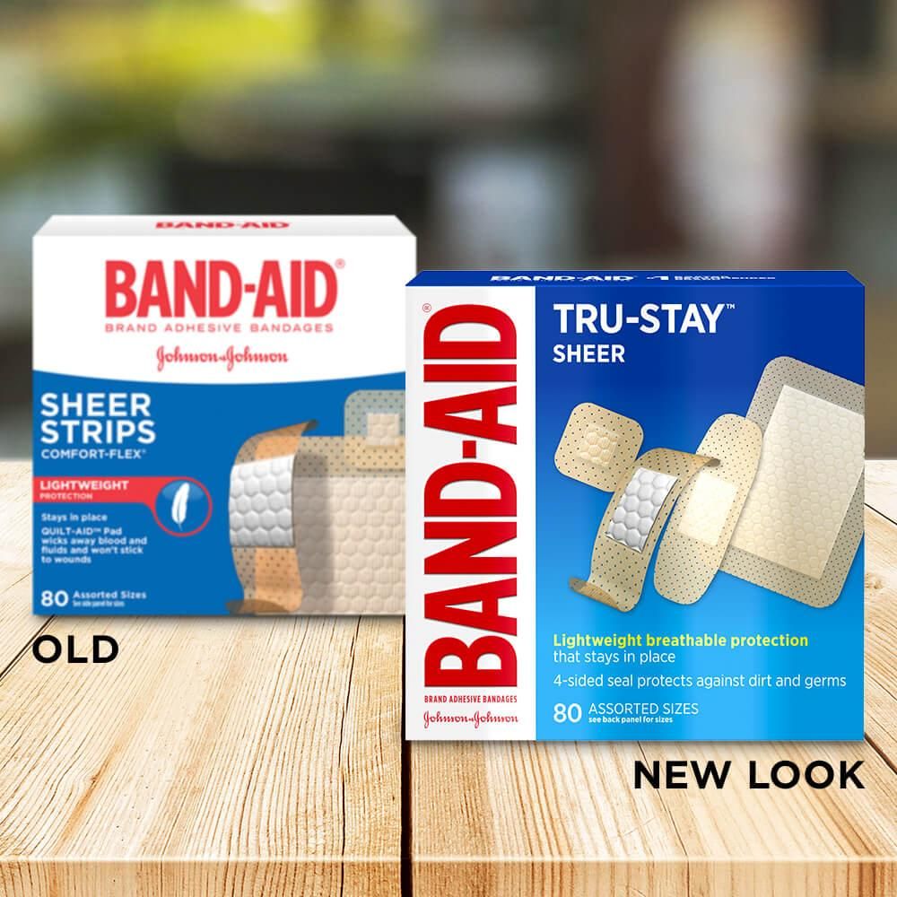 Old vs new look of BAND-AID® Brand TRU-STAY™ Sheer Bandages