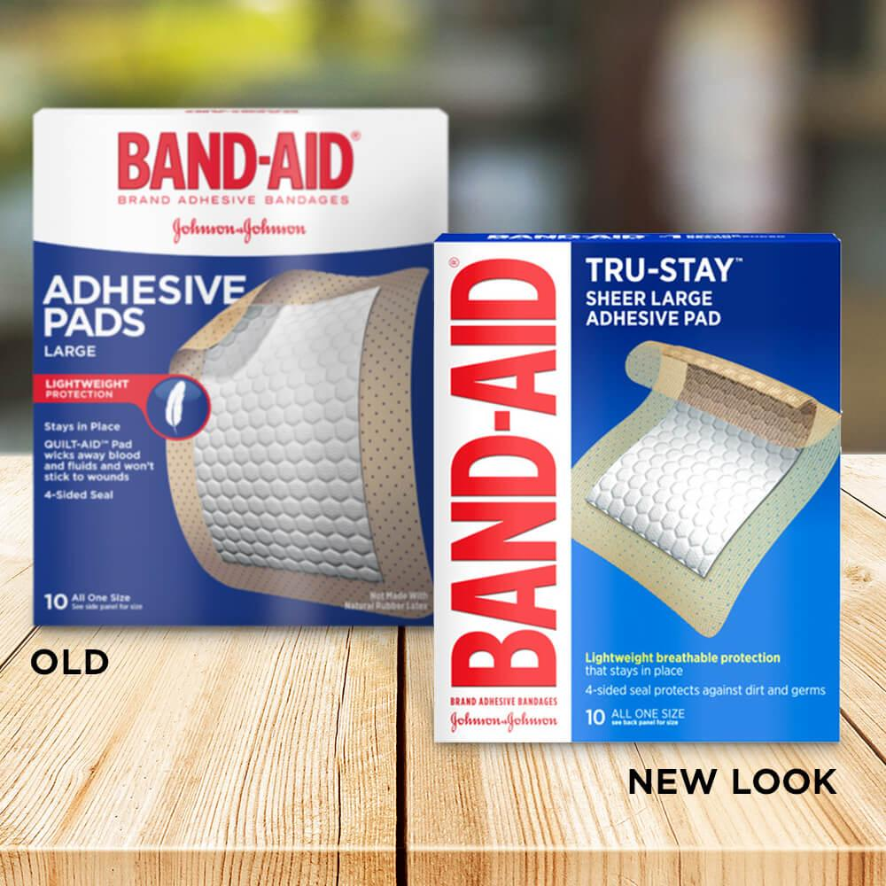 Old vs new look of BAND-AID® Brand TRU-STAY™ Large Sheer Bandages