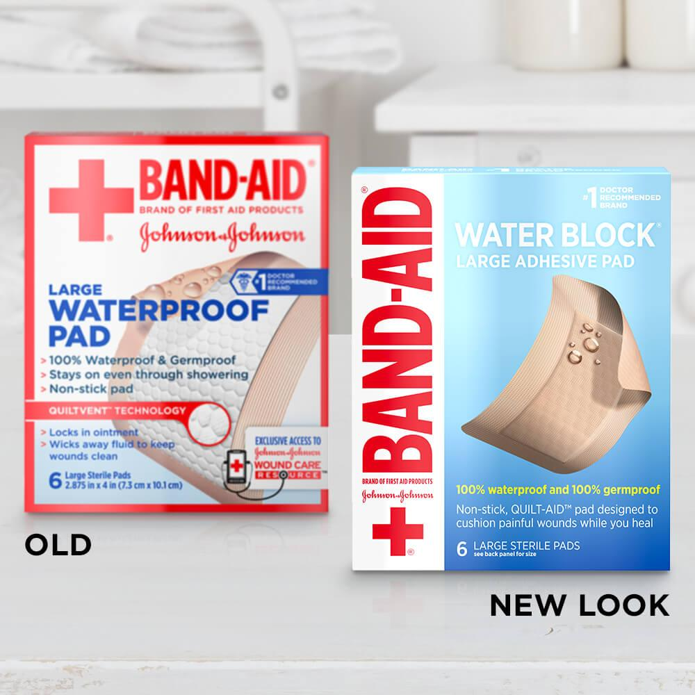 New vs old boxes of BAND-AID® Brand WATER BLOCK® large waterproof bandages