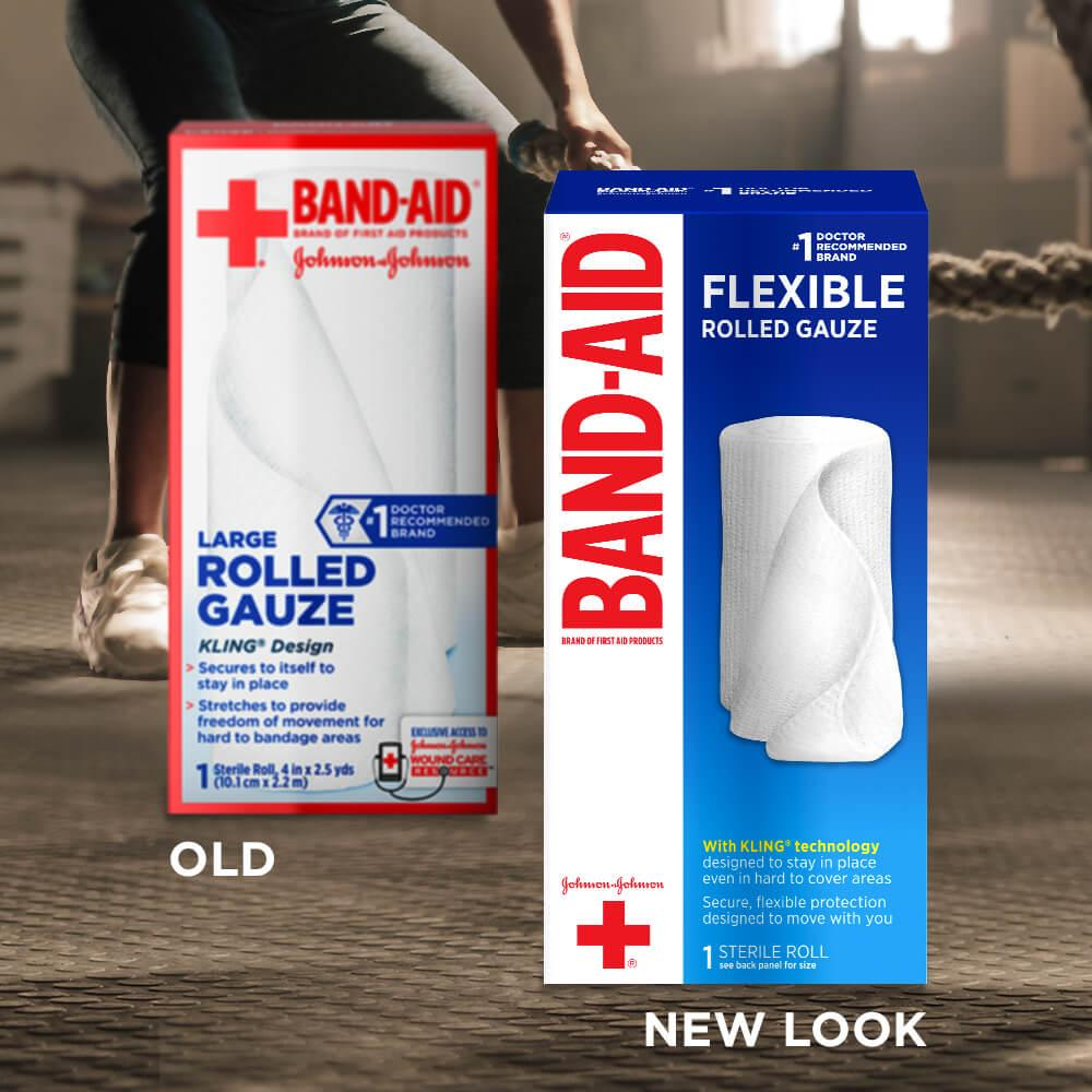 Old vs new look of BAND-AID® Brand Flexible Stretch Gauze Roll, 4 In x 2.5