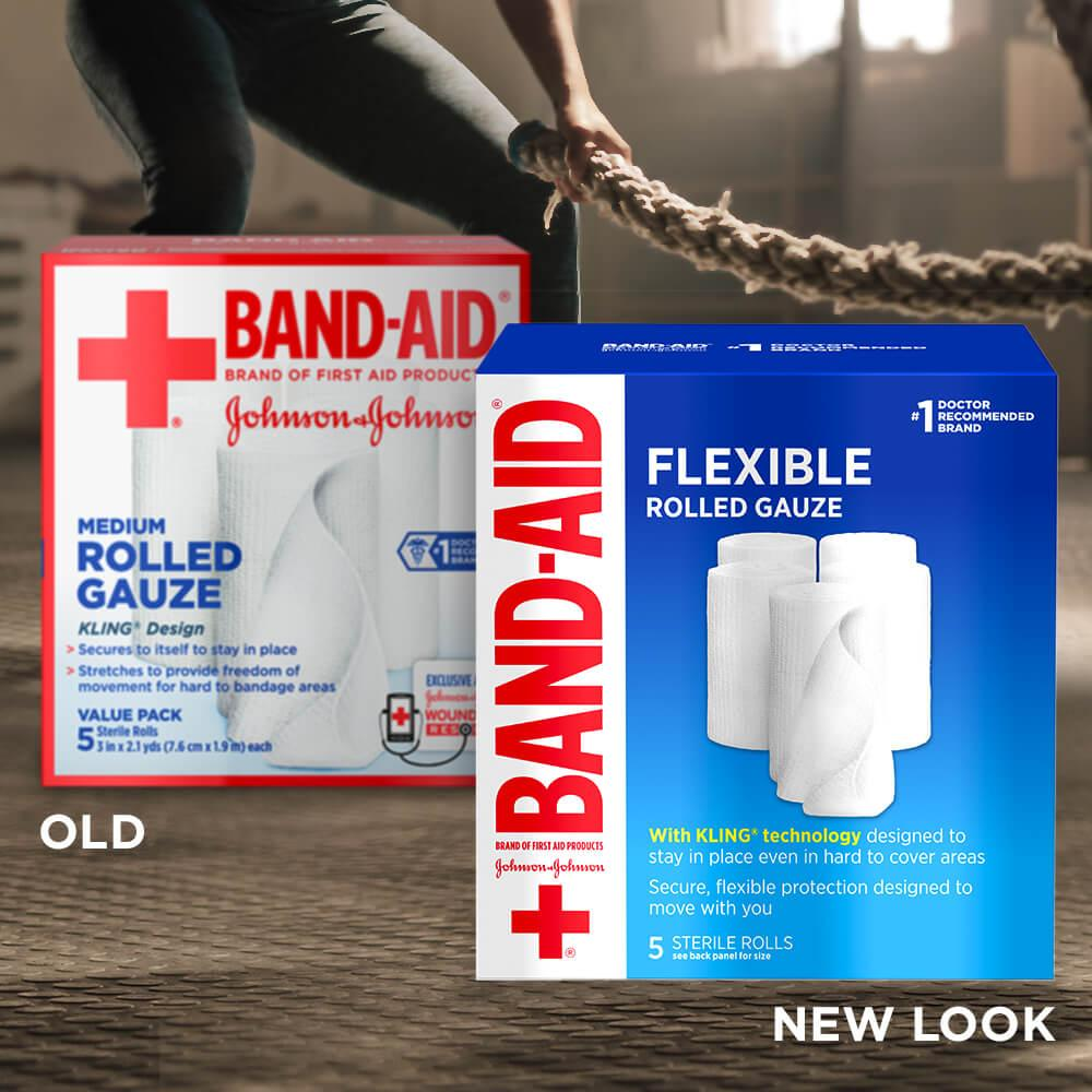 Old vs new look of BAND-AID® Brand Flexible Stretch Gauze Roll, 3 In x 2.1 Yds, 5 Ct