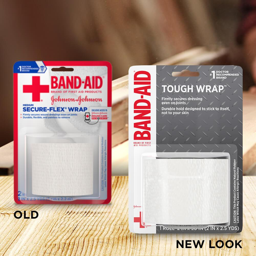 Old vs new look of BAND-AID® Brand TOUGH wrap, 2 In x 2.5 Yds