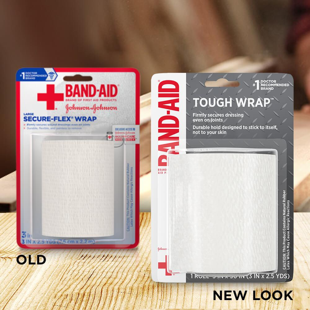 Old vs new look of BAND-AID® Brand TOUGH wrap, 3 In x 2.5 Yds