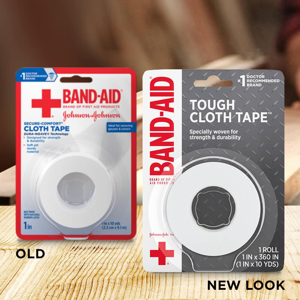Old vs new look of BAND-AID® Brand TOUGH cloth tape, 1 In x 10 Yds