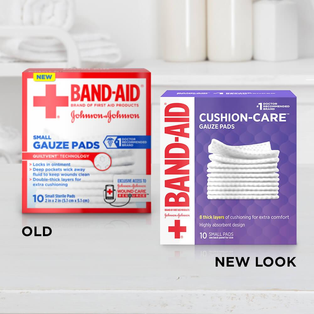 Old vs new look of BAND-AID® Brand CUSHION-CARE™ small gauze pads
