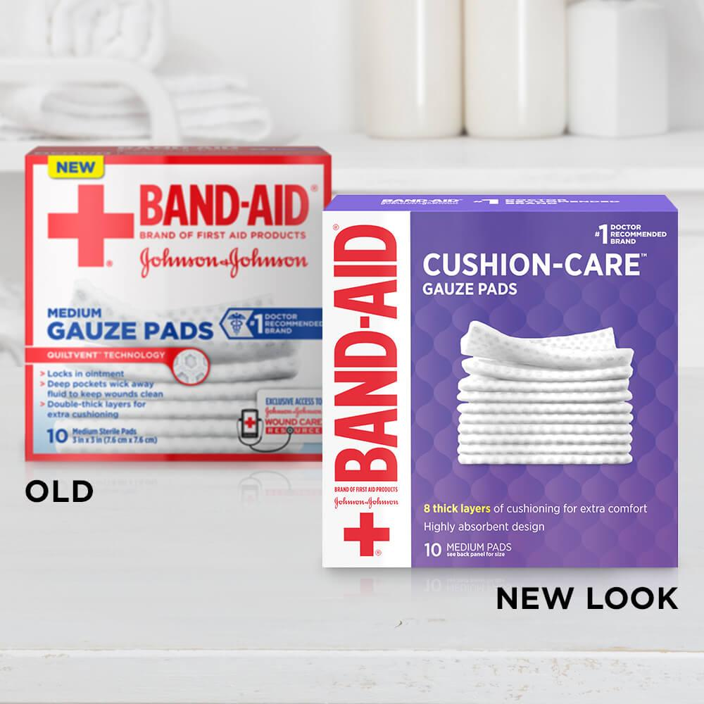 Old vs new look of BAND-AID® Brand CUSHION-CARE™ medium gauze pads