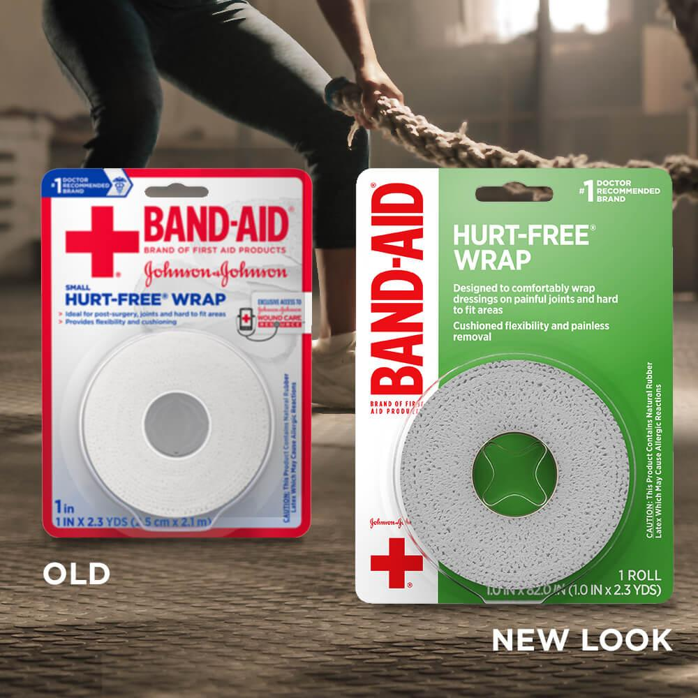 New vs old packaging of BAND-AID® Brand HURT-FREE® self-adherent wound wrap