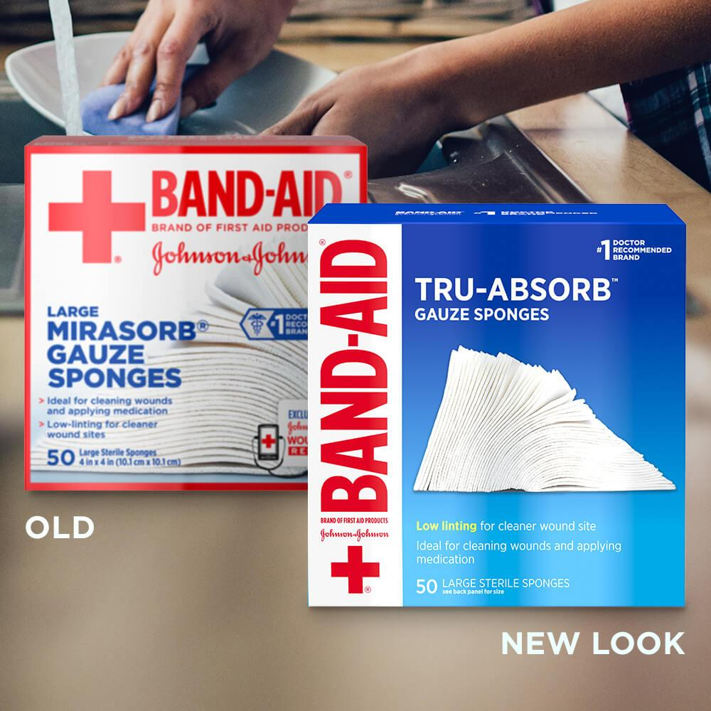 Old vs new look of BAND-AID® Brand TRU-ABSORB™ Gauze Sponges