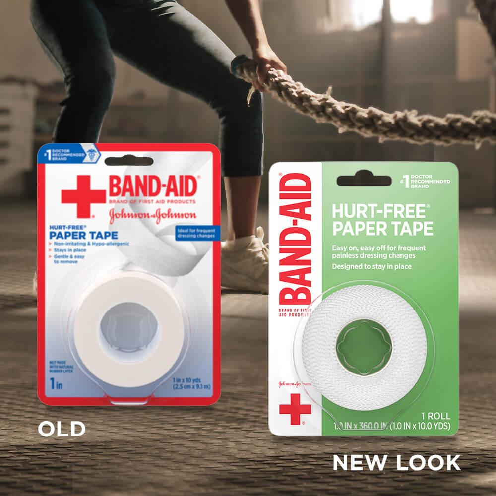 New vs old packaging of BAND-AID® Brand HURT-FREE® paper tape for wound care