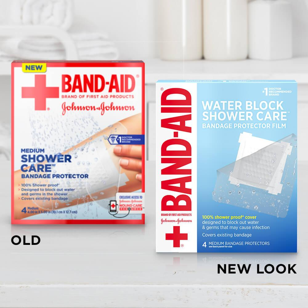 Old vs new look of BAND-AID® Brand Waterproof Wound Protector for Shower Medium Bandage Cover