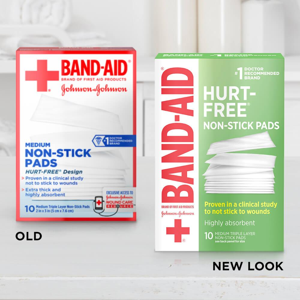 Old vs new look of BAND-AID® Brand HURT-FREE® Medium Non-Stick Pads