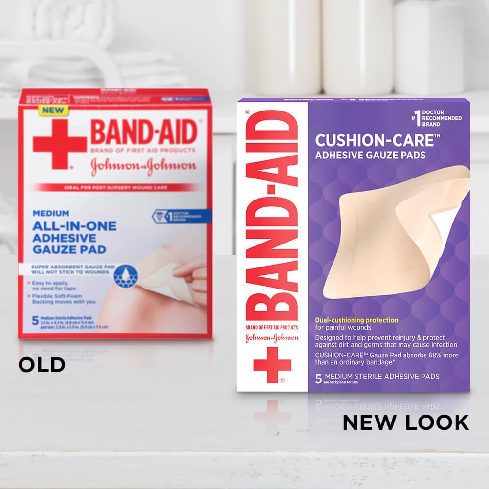 Old vs new look of BAND-AID® Brand CUSHION-CARE™ Medium Sterile Adhesive Gauze Pads