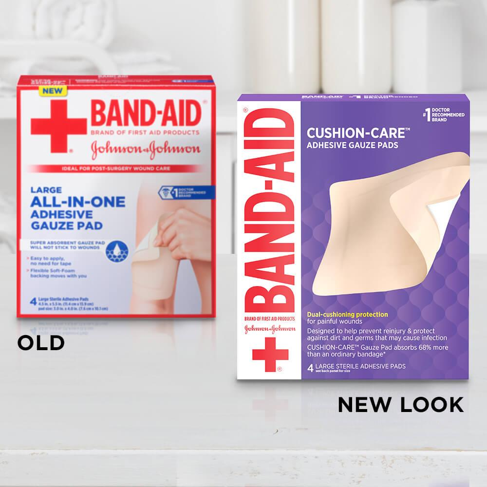 Old vs new look of BAND-AID® Brand CUSHION-CARE™ Large Sterile Adhesive Gauze Pads