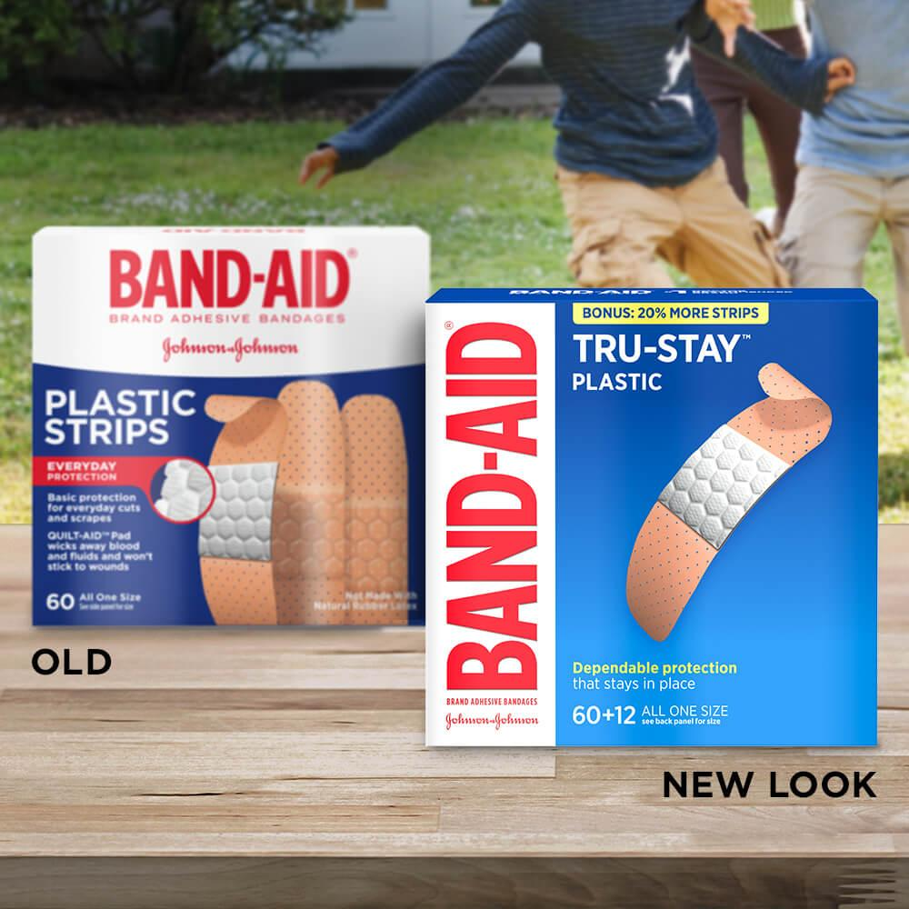 Old vs new look of BAND-AID® Brand TRU-STAY™ Plastic Bandages