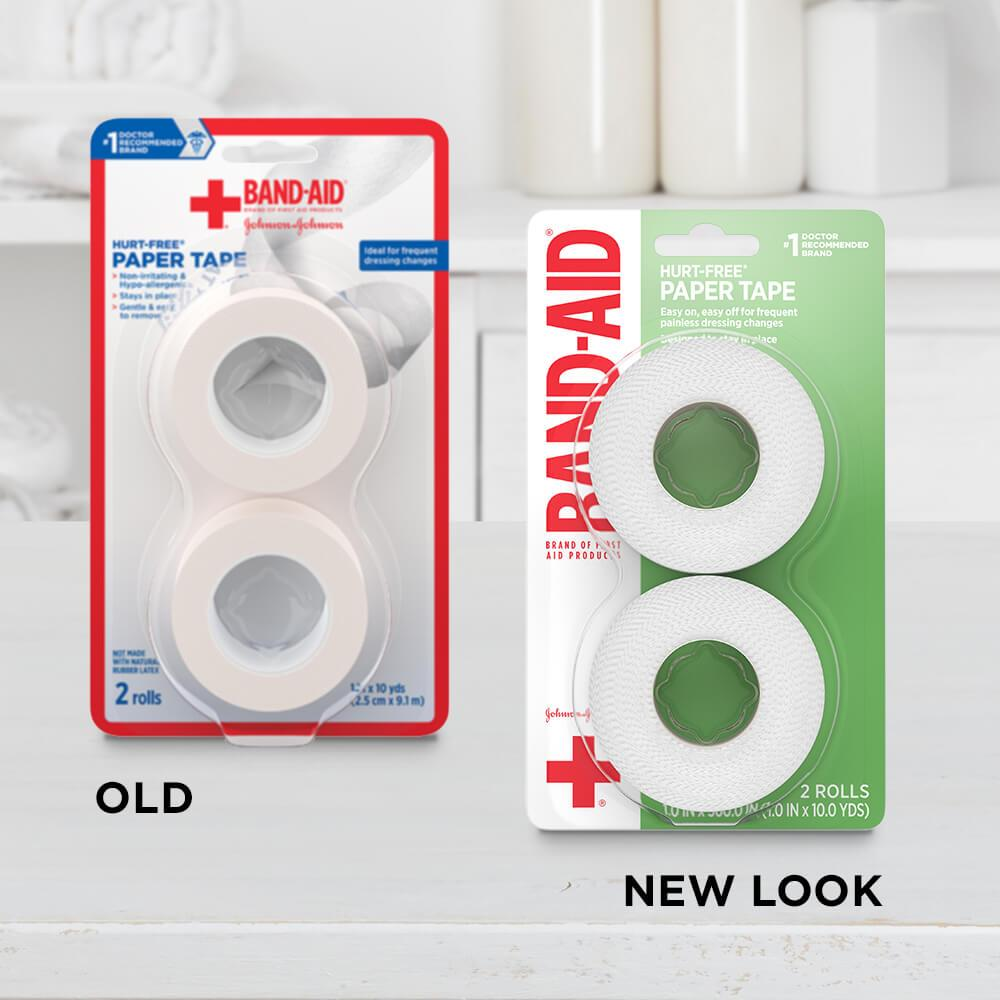 New vs old packaging of BAND-AID® Brand HURT-FREE® paper tape two-pack