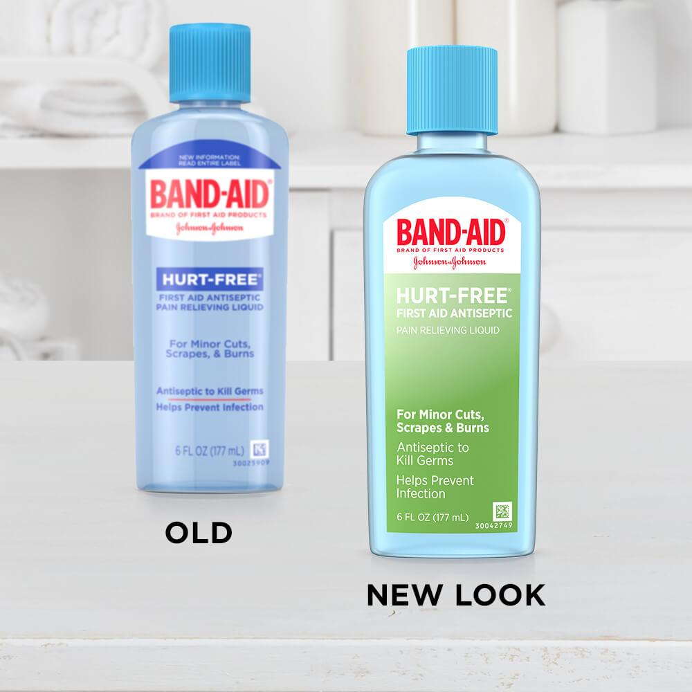 New vs old bottle of BAND-AID® Brand HURT-FREE® Antiseptic Wound Wash for Infection Prevention