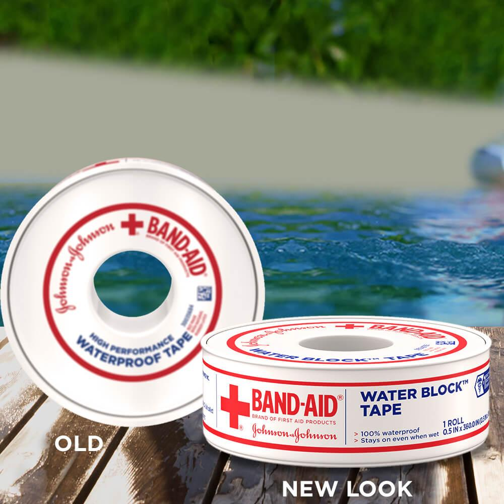 New vs old packaging of BAND-AID® Brand waterproof tape, 1/2 Inch by 10 Yd