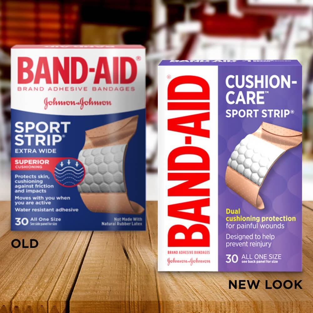 Old vs new look of BAND-AID® Brand CUSHION-CARE™ SPORT STRIP® Extra Wide Adhesive Bandages