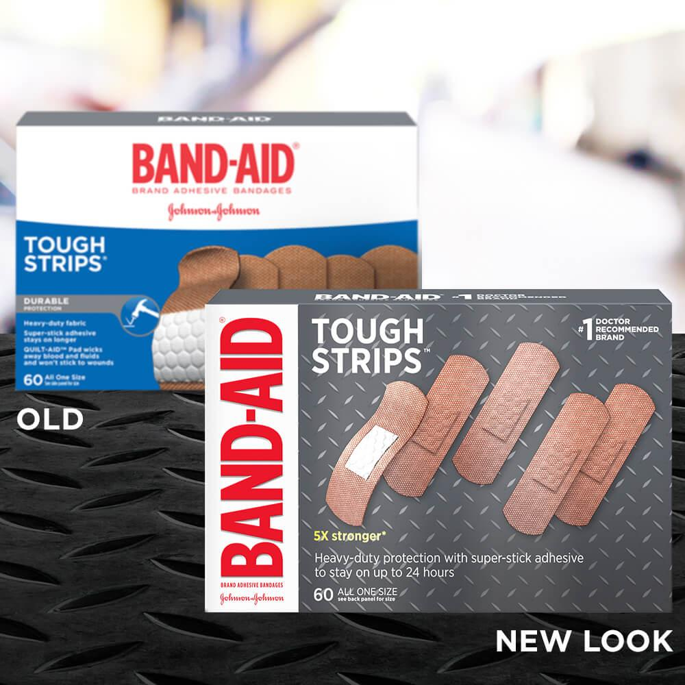 Old vs new look of BAND-AID® Brand TOUGH-STRIPS® heavy duty adhesive bandages, 60 ct