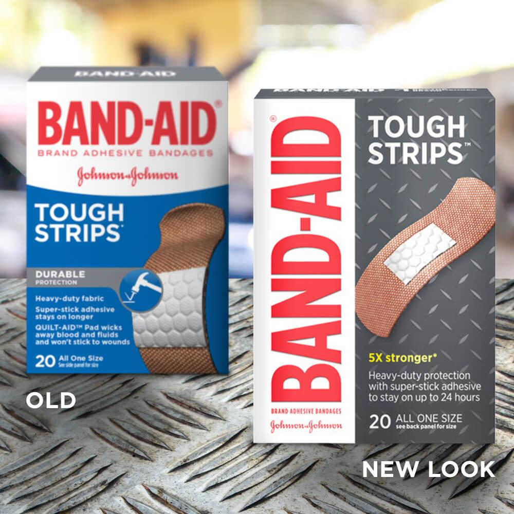 Old vs new look of BAND-AID® Brand TOUGH-STRIPS® heavy duty adhesive bandages, 20 ct