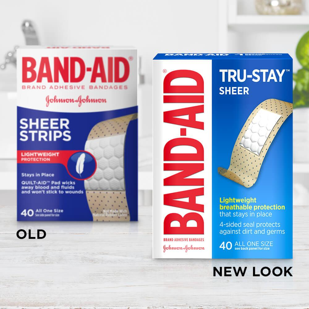 New vs old packaging of BAND-AID® Brand TRU-STAY™ sheer bandages