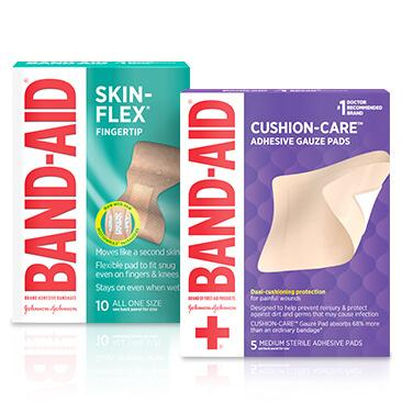 Boxes of BAND-AID® Brand SKIN-FLEX™ finger bandages and CUSHION-CARE™ gauze pads