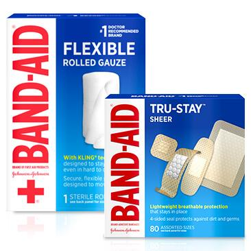 Boxes of BAND-AID® FLEXIBLE rolled gauze and TRU-STAY™ sheer bandages