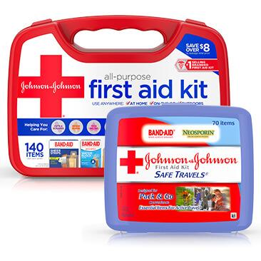 JOHNSON & JOHNSON SAFE TRAVELS® first aid kit and All-Purpose basic first aid kit