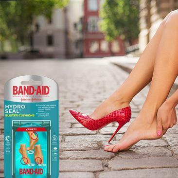 Boxes of BAND-AID® Brand HYDRO SEAL® gel bandages and blister cushions