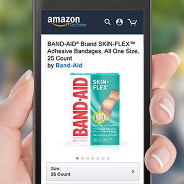 Image of a phone where user can find BAND-AID® Brand products for purchase on mobile, online, and in a store near you