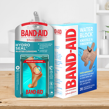 BAND-AID® Brand product packages. Hydro Seal and Water Block Knuckle & Fingertip adhesive bandages